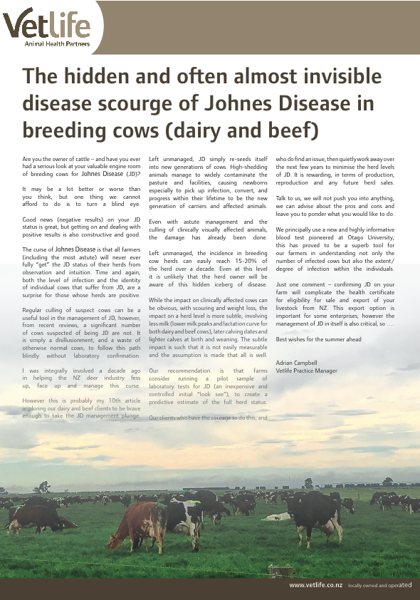 Download The hidden and often almost invisible disease scourge of Johnes Disease in breeding cows (dairy and beef)